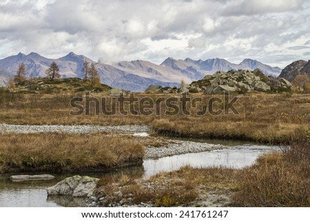 Lago Aviolo in Presanella - stock photo