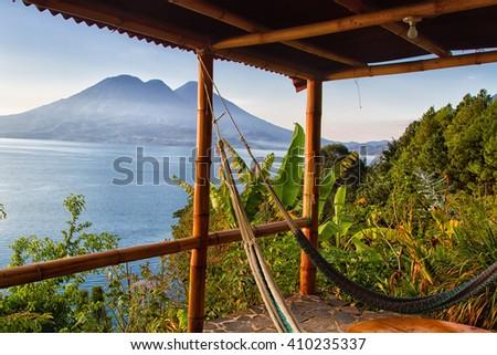 Lago de Atitlan with Volcan San Pedro, Guatemala, Central America - stock photo