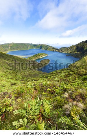 Lagoa de Fogo, lake in the volcanic crater on the Island of Sao Miguel - stock photo