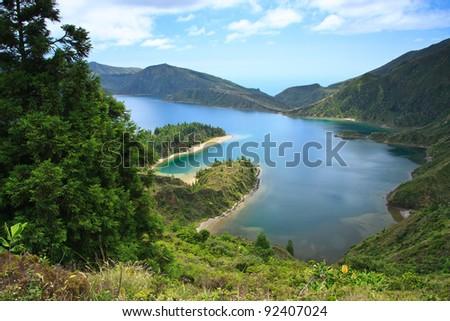 Lagoa do Fogo, a volcanic lake in Sao Miguel, Azores - stock photo