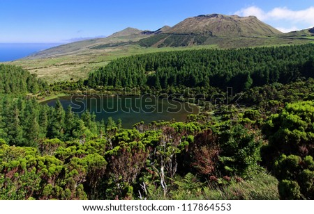 Lagoa Seca - Highlands of Pico Island, Azores - stock photo
