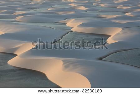 Lagoon in desert Lencois Maranhense in Brazil - stock photo