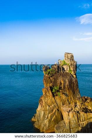 Lagoon Mountains Sea Rocks  - stock photo