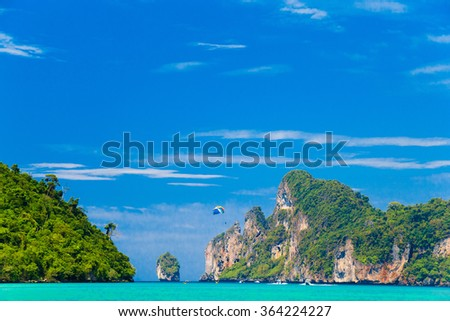 Lagoon Mountains Tranquil Bay  - stock photo