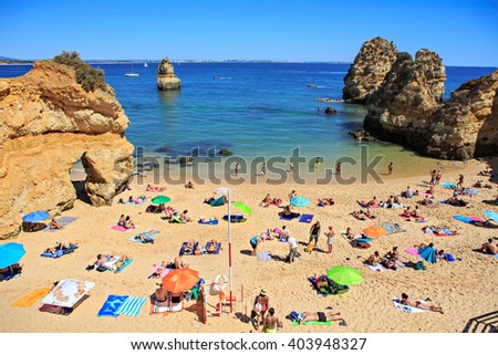 LAGOS, ALGARVE, PORTUGAL - CIRCA SEPTEMBER  2015: Beach of Lagos in Algarve, Portugal - stock photo