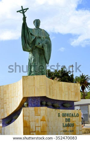 Lagos, Algarve, Portugal - October 28, 2015 : Statue of the Portuguese Patron Saint of fishermen in the Algarve S. Goncalo de Lagos  - stock photo