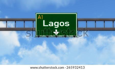 Lagos Nigeria Africa Highway Road Sign - stock photo