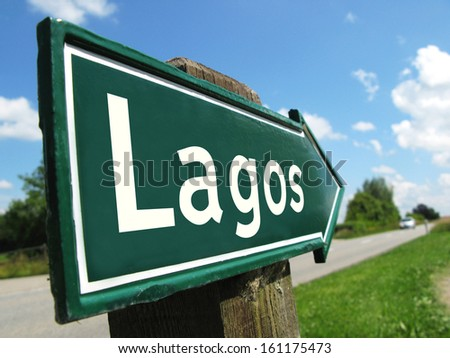 LAGOS signpost along a rural road - stock photo