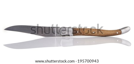 Laguiole french traditional folding knife on white - stock photo