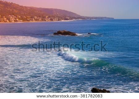 laguna beach coastal view, Los Angeles - stock photo