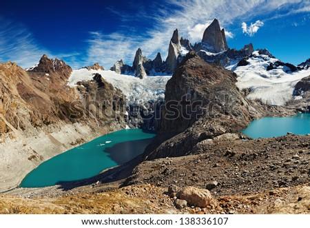 Laguna de Los Tres and Laguna Sucia, Patagonia, Argentina - stock photo