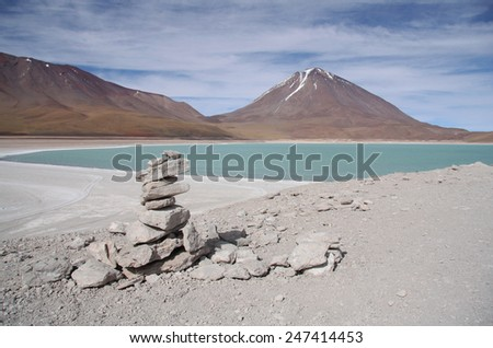 Laguna Verde and Volcano in Atacama desert, Salar de Uyuni, Bolivia - stock photo