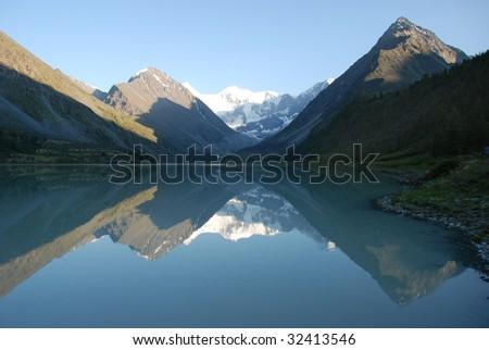 Lake Ak-kem and Belukha mountain 4506m, Altai, Russia - stock photo