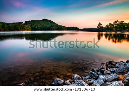 Lake Allatoona at Red Top Mountain State Park north of Atlanta at sunrise - stock photo