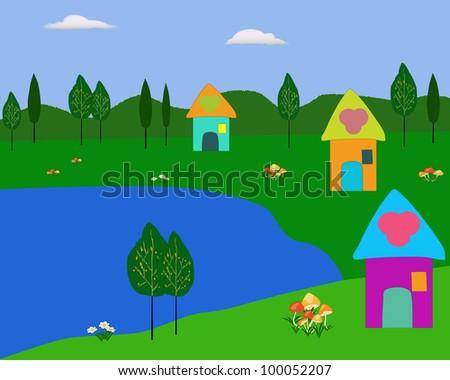 lake and cartoon house illustration - stock photo