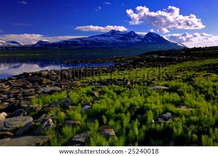 Lake and grass view in padjelanta national park in sweden - stock photo
