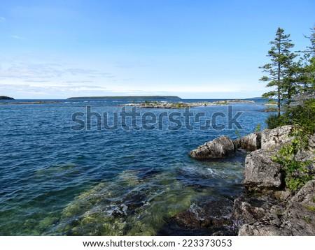 Lake and islands view, Bruce Peninsula National Park, Ontario, Canada - stock photo