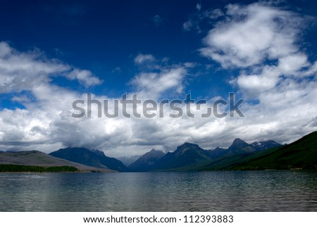 Lake and Mountain landscape at Glacier National Park in Montana. - stock photo