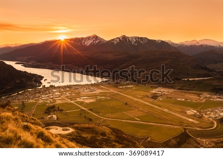 lake and mountain landscape in Queenstown, New Zealand - stock photo