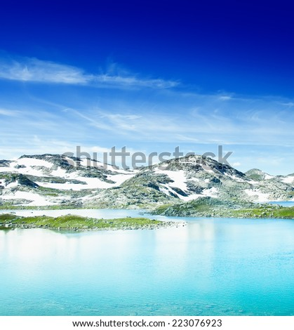 Lake and mountains - stock photo