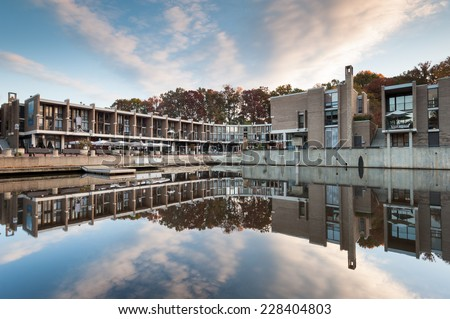 Lake Anne Plaza Planned Community Cubist Townhomes Mixed Use Development Reston Virginia - stock photo