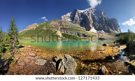 Lake Annette & Mount Temple in Paradise Valley Lake Louise, Banff National Park, Alberta, Canada - stock photo
