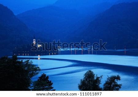 lake at evening - stock photo