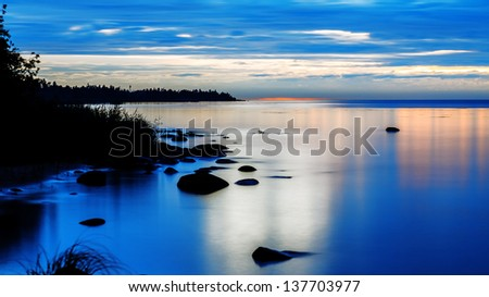 Lake at night - stock photo