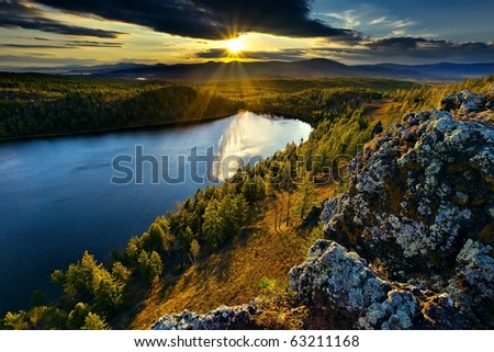 Lake at sunrise - stock photo