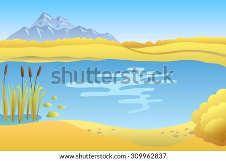 Lake autumn landscape day illustration  - stock photo