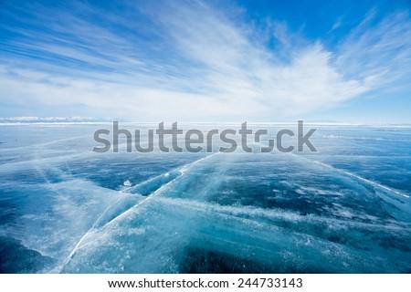Lake Baikal in winter. Ice endless desert - stock photo