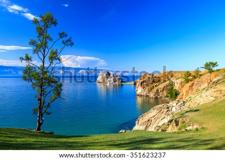 Lake Baikal. Olkhon island. Cape Burkhan. - stock photo