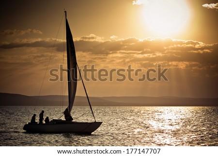Lake balaton at sunset, Hungary  - stock photo