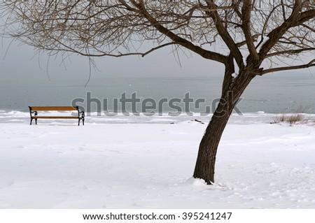 Lake Balaton in winter time,Hungary - stock photo
