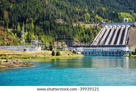Lake Benmore hydroelectric dam, New Zealand - stock photo