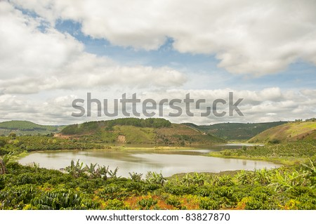 lake between hills - stock photo