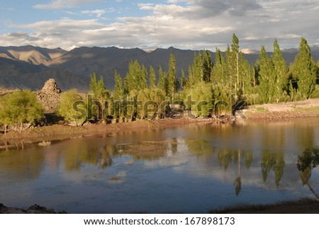 Lake between Stakna and Matho in Ladakh - stock photo