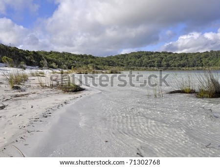 Lake Birrabeen scenic, Fraser Island Queensland Australia - stock photo