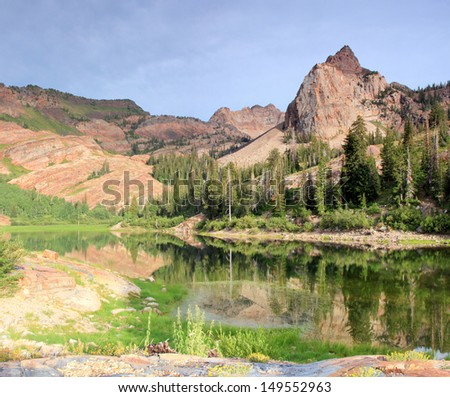 Lake Blanche in Utah's Wasatch Mountains, USA. - stock photo