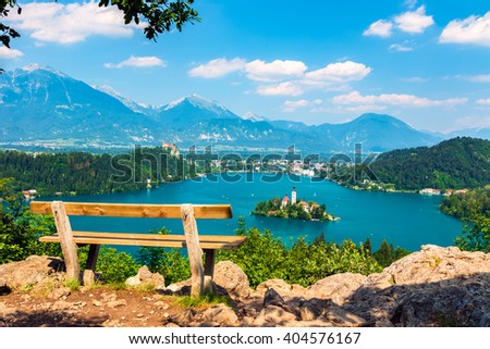 Lake Bled in summer, view from above, Slovenia. - stock photo