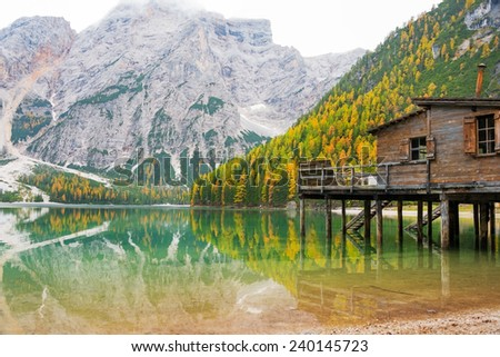 Lake braies in south tyrol, italy - stock photo