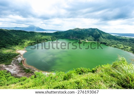 Lake crater at Taal volcano,Tagaytay city,Philippine. - stock photo
