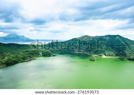 Lake crater at Taal volcano,Tagaytay city,Philippine. - stock photo