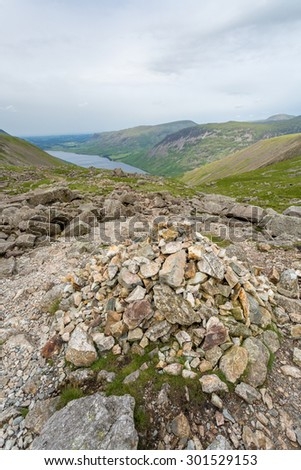 Lake district on the way to the top of Scafell Pike - stock photo