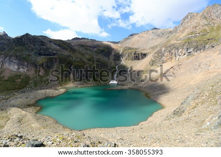 Lake Eissee and mountain panorama in Hohe Tauern Alps, Austria - stock photo