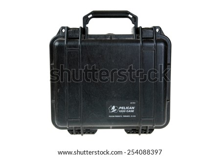 Lake Forest, CA - February 19, 2015:  Pelican Products, Inc.  Pelican 1200 Case. Watertight, crushproof, and dustproof Body: Polypropylene used by Military, Industrial, and Professionals world wide  - stock photo