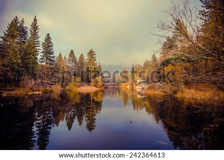 Lake Fulmor is San Jacinto Mountains Reserve. California, United States. Lake and Mountains Landscape - stock photo
