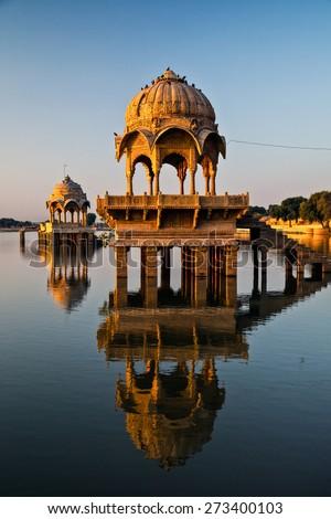 Lake Gadisar, Jaisalmer, Rajasthan, India- Sunrise at lake Gadisar (Gadi Sagar) - stock photo