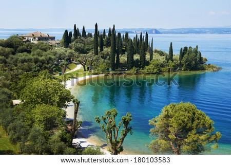 lake Garda in Italy. Bay and resort camping - stock photo