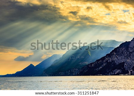 Lake Garda (Lago di Garda) Italy - sunset - stock photo